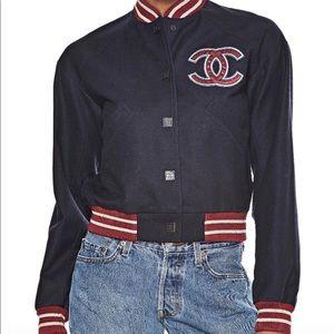 CHANEL Navy Wool Varsity Jacket Size 34